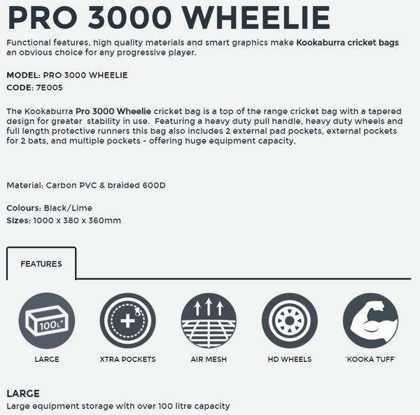 KB Pro 3000 Wheelie Cricket Kit Bag Details