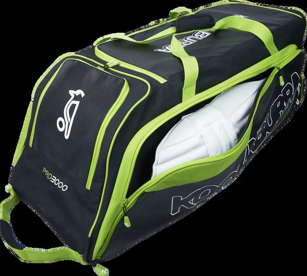 KB Pro 3000 Wheelie Cricket Kit Bag with Batting Pads on the side