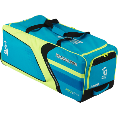 KB Pro 600 Wheelie Cricket Kit Bag 2017 year range in Blue Yellow and Black combination front view