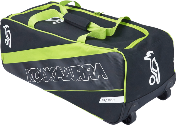 KB Pro 1500 Wheelie Kit Bag in 2017 range with Black and Lime color combination wheelie view