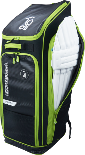 Kookaburra Pro D5 Duffle Bag - black/green 2017 side view showing pads section