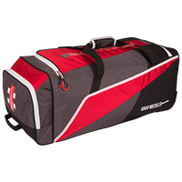 Large main storage area. Padded side bat pocket. Wheelie system with hard wearing anti scuff protection. Size: 75 x 34 x 30cm. Colour: RED/BLK/GREY Number of Pockets: 2 plus slide in bat section.