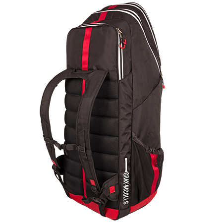 "The ultimate in style and performance duffle bags - a true Gray Nicolls classic. Stand Up design with hard structured lower section for stable base. Separate bat compartment for storage of up to 3 bats - padded back for comfort when carrying and protection of bats. Ergonomically designed shape and pocket structure for optimum space for all kit. Additional storage space in lid section, plus shoe and pad sections. Function meets performance with ""H"" shape carry straps and buckle waist band to spread the load. 38 x 38x 98cm. Number of Pockets: 5."