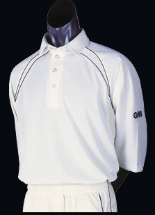 GM Teknick Club Cricket Shirts - 3/4 Sleeve green trim