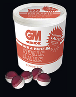 GM Cricket Skills Ball BUCKET - Red/White Senior