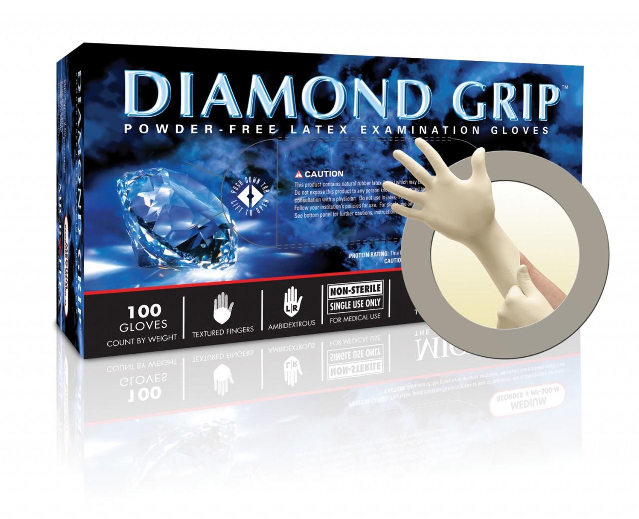 Microflex DGP-350L Diamond Grip Plus Latex Powder Free Gloves-Large 10 Boxes