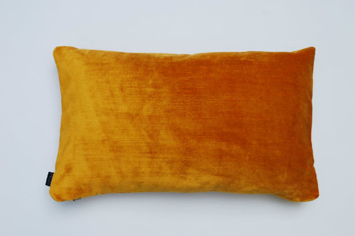Distressed Velvet Cushion - Hot Orange - 50 x 30cm