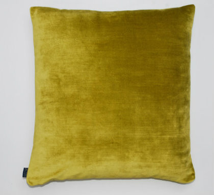 Distressed Velvet Cushion - Chartreuse Green - 50 x 50cm