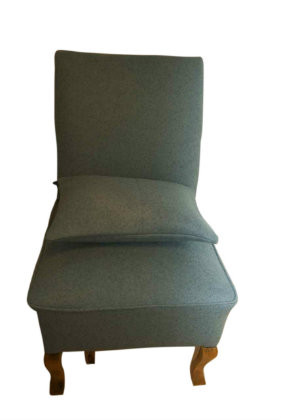 1950s Nursing chair in duck egg blue sustainable wool