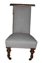 Prie-dieu chair in contemporary oatmeal wool