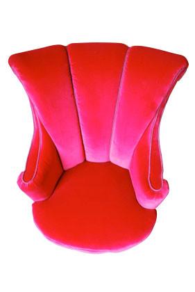 Exquisite Victorian nursing chair in peony red velvet