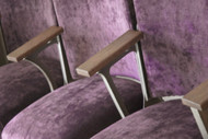 Monroe Avenue ornate original cast iron cinema seats in purple velvet