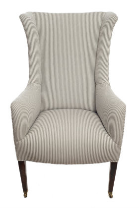 Monroe Avenue Edwardian ladies armchair in contemporary ticking