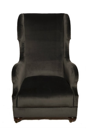 Unusual & Luxurious Grey Velvet Victorian Wingback Chair