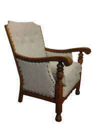 High Backed, wooden framed chairs in ticking (Pair)