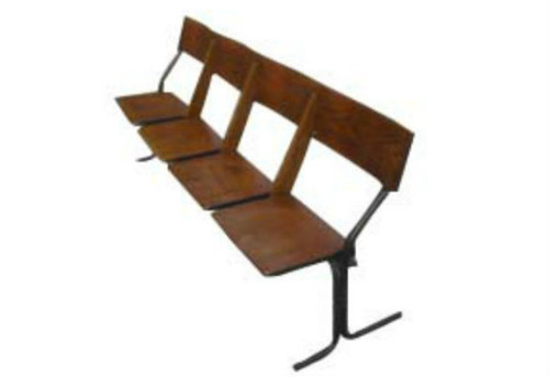 Monroe Avenue Art Deco four-seater wooden church bench