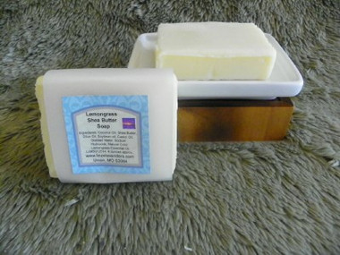 Lemongrass Organic Shea Butter Soap  I have several Soaps with this combination of butter and oils.  Ingredients are Coconut Oil, Organic Shea Butter, Olive Oil, Sweet Almond Oil, Castor Oil, Distilled Water, Sodium Hydroxide, Lemongrass Essential Oil, Natural Green Color.  This Soap weighes approx. 4 ounces. Lathers Great Smells Great Feels great on Skin,  Lemongrass has a light, fresh, citrus aroma with earthy undertones. Refreshing, rejuvenating, stimulating, and balancing, it inspires and improves mental clarity.
