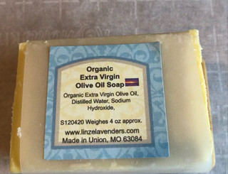 Extra Virgin Olive Oil Organic, Distilled Water, Sodium Hydroxide, Natural Color, Natural Scent. This bars Weighes 4 ounces, now made with Organic Extra Virgin Olive Oil. Olive Oil soap is very gentle on the skin.