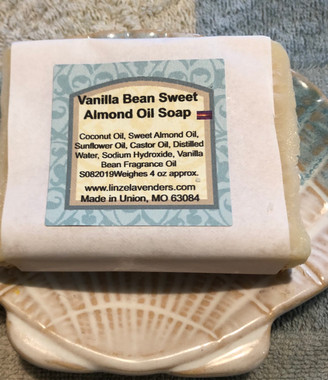 Soap is made with  Coconut Oil, Sweet Almond Oil, Sunflower Oil, Castor Oil, Distilled Water, Sodium Hydroxide, Vanilla Fragrance Oil. This combination of Oils make for a very creamy lather. Great Vanilla Bean scent. the best selling soap The soap weighes appro. 4 ounces.