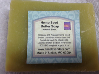 This Natural Hemp Seed Butter Soap  Contains Coconut Oil, Natural Hemp Seed Butter,  Unrefined Hemp Seed Oil, Sweet Almond Oil, Castor Oil, Distilled Water, Sodium Hydroxide,  Natural Scent Weighes approx 4 ounces.
