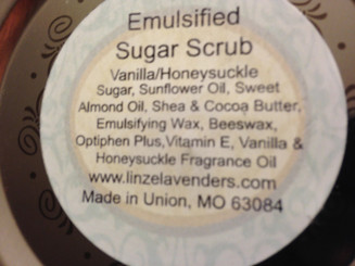 4cup, 4oz  Emulsified Sugar Scrub made with Sugar, Sunflower Oil, Sweet Almond Oil, Shea & Cocoa Butter, Emulsifying Wax, Beeswax, Optiphen Plus, Vitamin E, Vanilla Fragrance Oil, Honeysuckle Fragrance Oil.