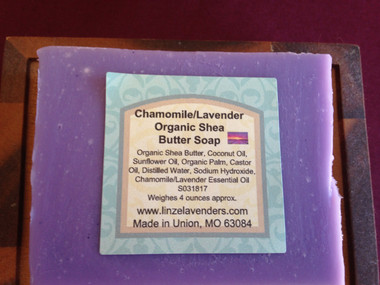 Chamomile/Lavender Organic Shea Butter Soap made with Coconut Oil, Organic Shea Butter, Sunflower Oil, Organic Palm Oil, Castor Oil, Distilled Water, Sodium Hydroxide,Chamomile/Lavender Essential Oil. A soothing blend of lavender, chamomile blossoms weighes approx. 4 ounces