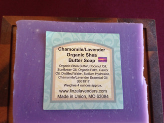 Chamomile/Lavender Organic Shea Butter Soap made with Coconut Oil, Organic Shea Butter, Sunflower Oil, Organic Palm Oil, Castor Oil, Distilled Water, Sodium Hydroxide, Chamomile/Lavender Essential Oil. A soothing blend of lavender, chamomile blossoms  weighes approx. 4 ounces
