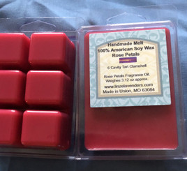 Handmade Melts Rose Petals 100% American Soy Wax 6 Cavity Melt Clamshell. Made for Warmers Melts provide a quick and safe and clean alternative to enjoying scented candles in your home. Scent lasts and long time. 10 hr to 30 hr maybe longer. Weighes 3.12oz