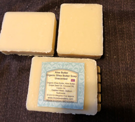 Aloe Butter Organic Shea Butter Soap Made with Organic Shea Butter, ALoe Butter, Castor Oil, Coconut Oil, Grapeseed Oil, Distilled Water, Sodium Hydroxide, NO Fragrance or Essential Oil. Lathers very nice Weighes 4 oz approx, only had for sale at market, sold first set.