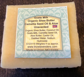 Camellia Seed & Aloe Goats Milk Organic Shea Butter Soap Made with Organic Shea Butter, Goats Milk, Coconut Oil, Camellia Seed Oil, Aloe Butter, Castor Oil, Distilled Water, Sodium Hydroxide, NO Fragrance or Essential. My Customers have been asking for Unscented Goats Milk Soap, here it is. Weighes 4 oz approx Lathering Great!!!