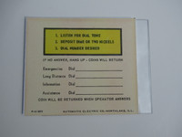 Automatic Electric payphone Middle instruction card