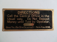 1905  Gray Pay station  Direction sign Brass