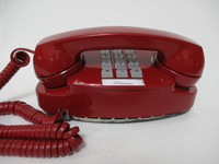 Red Princess Touch tone phone with Light Kit
