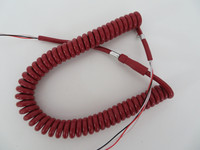 Red Coil handset cord Spaded Western Electric