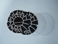 Dial number cards and lucite discs