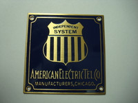 Automatic Electric  brass nameplate  AE badge