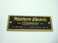 Western Electric brass name plate