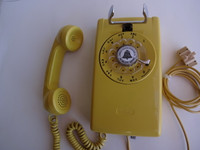 Western Electric 554 Yellow wall phone