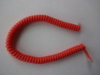 Coiled handset cord Orange modular  Wall and Desk phones