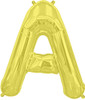 "16""  Gold Letter A Air-Fill  Mylar Foil Balloon"