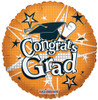 "18"" Congrats Grad Orange Mylar Foil Balloon"