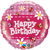 "18"" Birthday Ladybugs & Daisies Mylar Foil Balloon"