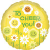 "18"" To Cheer You Smiley Flowers Mylar Foil Balloon"