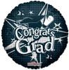"18"" Congrats Grad Black Mylar Foil Balloon"