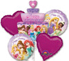 Princess Birthday Cake  Bouquet Mylar Foil Balloons