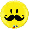 "18"" Smiley Face Mustache Mylar Foil Balloon"
