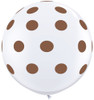 "36"" Big Chocolate Brown Polka Dots on White Latex Balloons"