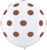 "36"" Big Chocolate Brown Polka Dots on White Latex Balloons"