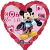 "18"" Mickey & Minnie Heart Mylar Foil Balloon"