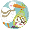 "18"" New Baby Stork Mylar Foil Balloon"